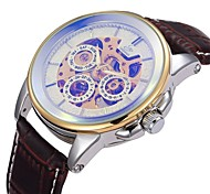 Men's Skeleton Dial Gold Case PU Leather Band Automatic Self Wind Wrist Watch (Assorted Colors)