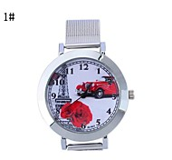 Women's Network With the Car Pattern Circular Mesh Belt China Movement Watch(Assorted Colors)