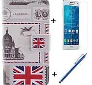 el diseño de la bandera de la PU cuero caso de cuerpo completo británico con el cine y la pluma de capacitancia para samsung galaxy a5 / A5000