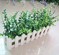 Eucalyptus Leaf + 30cm White Fence with Fake Silk Flowers ,Plastic