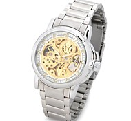 OUYAWEI 11039-2 Men's Fashionable Skeleton Auto Mechanical Wrist Watch (Silver)