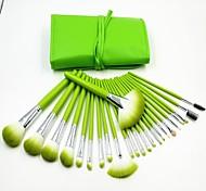 24pcs fresco profissional de alta qualidade conjunto de pincel de maquiagem verde