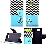KARZEA™Wave Anchor PU Leather TPU Back Full Body Case Painting Card Holder Wallet Case for Samsung Alpha G850F