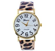 Female Leopard Belt Shell Surface Circular Belt China Movement Watch(Assorted Colors)