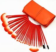 24pcs High Quality Professional Bright Orange Makeup Brush Set