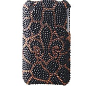 Brown Black Bottom Flower Bling Case PC Hard Case for iPhone 3G/3GS