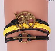 leather Charm Bracelets Eruner®Leather Bracelets Multilayer Alloy Mockingjay Charms Handmade Bracelet