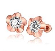 cristal de mode fleur rose en or rose boucles d'oreille en plaqué or (or rose) (1 paire)