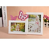 Personalized Framed Photo 6 And 7 Inches In One Pink Butterfly Design White Wooden Frame with Stand 2 Photos