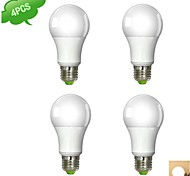 9W E26/E27 LED Globe Bulbs A60(A19) 1 COB 850 lm Warm White / Cool White AC 100-240 V 4 pcs