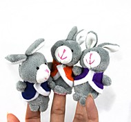 Cute Puzzle Doll Story Finger Three Small Gray Rabbit Set (3 Pcs)