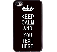 personalisierte Fall Schwarzes behalten Ruhe Design Metallkasten für iphone 4 / 4s