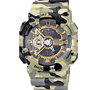 Men's Military Camouflage Design Dual Time Zones Rubber Band Wrist Watch (Assorted Colors)
