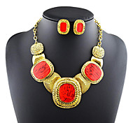 Luxury Elegance Noble Big Jewel  Large Gem(Includes Necklace&Earrings) Jewelry Set(1 pc)