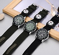 Unisex Double-Movement Multi-Functional  Black Fabric Band Sporty Wrist Watch(Assorted Colors)