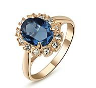 18K Rose Gold Plated Emerald Blue Crystal Ring Elegant Jewelry CZ Diamond Austrian Crystal Stellux