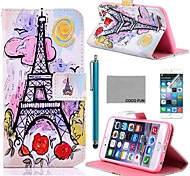 COCO FUN® Painting Tower Pattern PU Leather Case with Screen Protector and Stylus for iPhone 4/4S