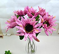 """Purple Artificial Sunflower 6 Pieces/Lot 19.69"""" Stem for Home Decoration"""