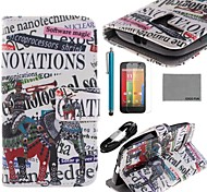 COCO FUN® Elephant Band Pattern PU Leather Full Body Case with Film USB Cable and Stylus for Motorala Moto G