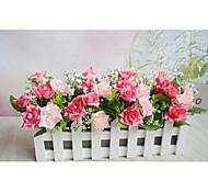 rosa rosa coreano + 30cm valla blanca con flores de seda falsos, plástico