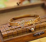 Fashion Bell Rhinestone Golden Alloy Charm Bracelet(1pc)(Silvery)