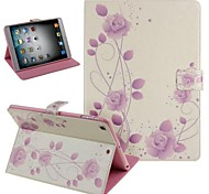 Fashion High Quality Purple Fllowers PU Full Body Cases with Stand for iPad 2/3/4