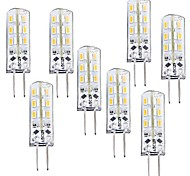 1.5W G4 Bombillas LED de Mazorca T 24 SMD 3014 100-120 lm Blanco Cálido Regulable DC 12 V 8 piezas