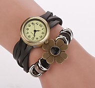 Women's Bronze  Dial Flower Band  Artificial Leather Quartz Wristwatches  (Assorted Color)C&d331