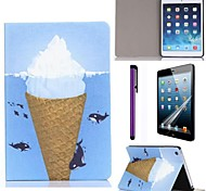Ice Cream Whale Pattern PU Leather Case with Screen Protector and Stylus for iPad mini 1/2/3