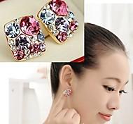 Colorful Shining Diamond Square Earrings