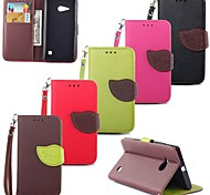 Leaves PU Leather Full Body Case with Card Slot, Stand and Strap for Nokia Lumia 730 (Assorted Colors)