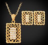 u7®hollow pendientes rectángulo collar colgante 18k chapado en oro verdadero diamante de imitación de la joyería de moda