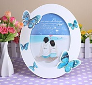 Personalized Framed Photo Blue Butterfly Design White Wooden Oval Frame with Stand 1 Photo