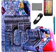 COCO FUN® Triumphal Arch Pattern PU Leather Full Body Case with Film and USB Cable and Stylus for Motorala Moto G
