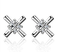 Women's S925 Silver Plated Dolphins Zircon Cross Shape Earrings(Color Preserving More Than A Year)