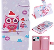 Cute Cartoon Owls Pattern PU Leather Full Body Case with Stand and Card Slot for Samsung Galaxy A3/A3000