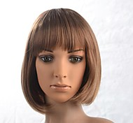 Capless Lady's Short Brown Straight Wig with Full Bang