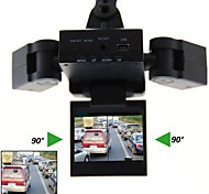 LEBOSH®2.0 Inch Two Camera Car DVR 90 Degree 8 infrared LEDs 5.0 Mega CMOS