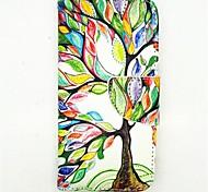 el árbol de la vida patrón pu cuero caso de cuerpo completo con ranura para tarjetas y soporte para el iPhone 6 más