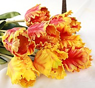 "Netherlands Yellow Orange Artificial Tulip 6 Pieces/Lot 19.69"" Stem for Home Decoration"