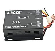 xincol® vehículo dc coche 24v a 12v 10a transformador de alimentación del convertidor-negro