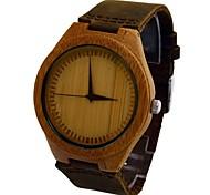 Men's Watch Natural Bamboo Wood Wrist Watch Retro Cow Leather Band Japan Miyota Movement