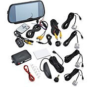 Car Reversing Set Intelligent Parking Assistance System-7 Inch Rearview Monitor-Rearview Camera-Parking Sensors(Silver)