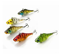 5 pcs Hard Bait / Vibration/VIB / Fishing Lures Vibration/VIB / Hard Bait Black / Green / White / Yellow / Red g/7/16 oz. Ounce mm/2-1/2""