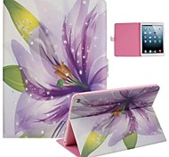 Purple Lily Inlaid Shiny Glitter Diamond PU Cases with Stand for iPad Air 2