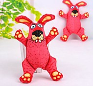 Lovely Pink Rabbit Shaped Canvas Squeaking Chewing Toys for Pet Dogs