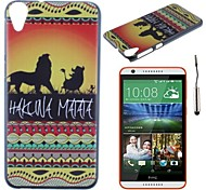 The Sunset Lions Pattern PC Hard Back Cover Case with Touch Pen for HTC Desire 820