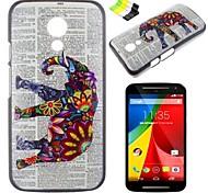 Elephant Pattern PC Hard Case and Phone Holder for Motorola MOTO G2