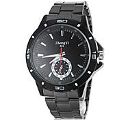 simples rodada liga mostrador do relógio de pulso de quartzo banda preta dos homens