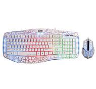 DH 6638CW USB Luminous Gaming Keyboard Mouse Kit 2400DPI
